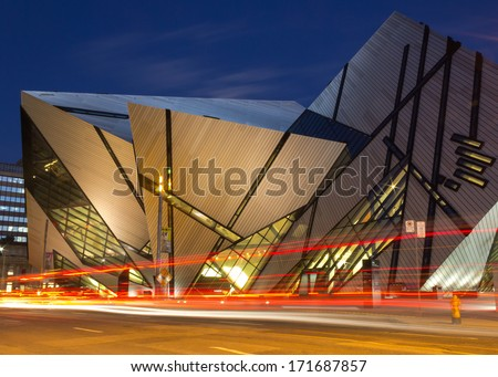 TORONTO, CANADA - OCTOBER 16, 2013: The Royal Ontario Museum in Toronto at night on 16th October 2013 - stock photo