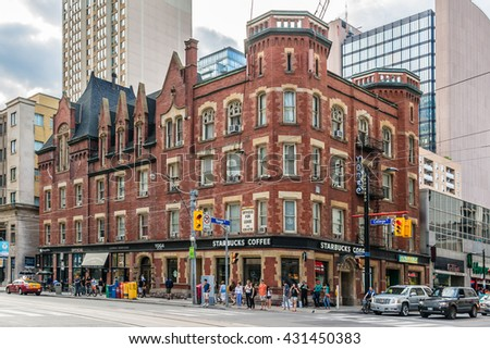 TORONTO, CANADA, ON - 24 JULY, 2014: Street view of downtown Toronto. Toronto is the 5th largest city in North America. - stock photo