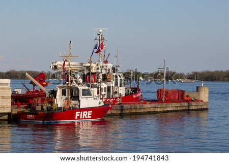 TORONTO, CANADA - 23RD MAY 2014: Fire and Rescue Boats docked in Toronto - stock photo