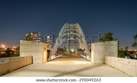 Toronto, Canada - September 10, 2011: Humber Bay Bridge at night - stock photo