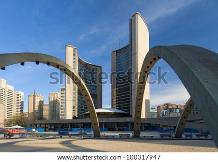 Toronto city hall in Nathan Philips Square - stock photo