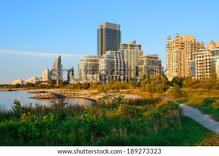 Toronto cityscape at waterfront in the morning after sunrise. - stock photo