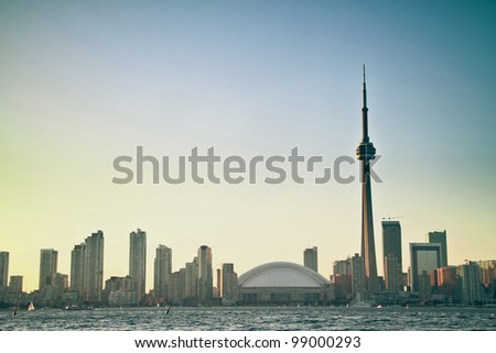 Toronto Cityscape with sunset as background - stock photo