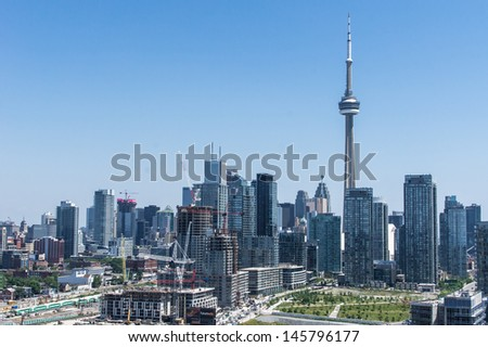 Toronto , CN Tower, skyscrapers , downtown - stock photo