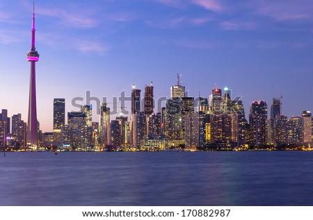 Toronto Downtown Cityscape at Dusk - stock photo