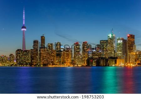 Toronto Downtown Skyline at night - stock photo