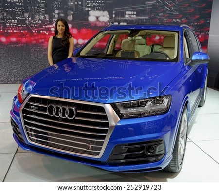 TORONTO-FEBRUARY 12: at the 2015 Canadian International Auto Show  Audi Q7 Quatro represents benchmark in fuel efficiency, height - weight ratio, fuel efficiency and weight in its class - stock photo