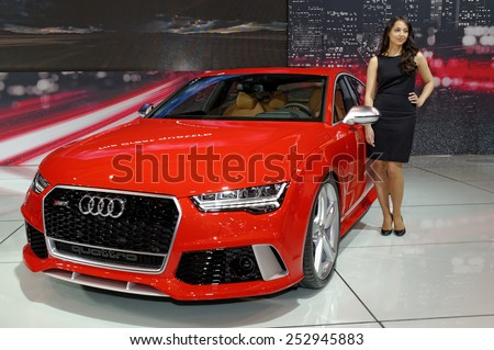 TORONTO-FEBRUARY 12: at the 2015 Canadian International Auto Show Audi RS7 Quattro with 560 hp and 516 lb-ft of torque provides impressive driving performance and comfort - stock photo
