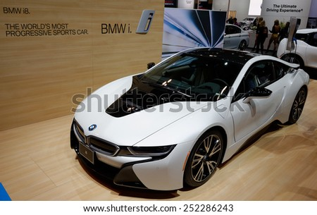 TORONTO-FEBRUARY 12: at the 2015 Canadian International Auto Show  BMW i8  model 2015 has a 7.1 kWh lithium-ion battery pack that delivers an all-electric range of 37 km (23 mi)  - stock photo