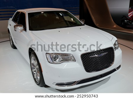TORONTO-FEBRUARY 12: at the 2015 Canadian International Auto Show, Chrysler 300C AWD comes with best in class V6 highway economy and 5.7HEMI V8 with 363hp on February 12, 2015 in Toronto  - stock photo