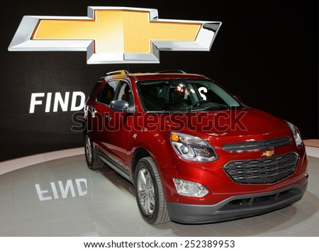 TORONTO-FEBRUARY 12: at the 2015 Canadian International Auto Show GMC Equinox LTZ combines fuel-efficient performance with SUV utility  on February 12, 2015 in Toronto  - stock photo