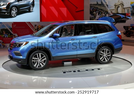 TORONTO-FEBRUARY 12: at the 2015 Canadian International Auto Show  Honda Pilot 2016 share its engine and underpinnings with Odyssey and Acura MDX  on February 12, 2015 in Toronto  - stock photo