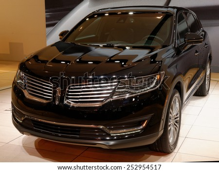 TORONTO-FEBRUARY 12: at the 2015 Canadian International Auto Show , Lincoln MKX offers a distinctly powerful ride with 3.7L Ti-VCT V6 engine and 305hp on February 12, 2015 in Toronto  - stock photo
