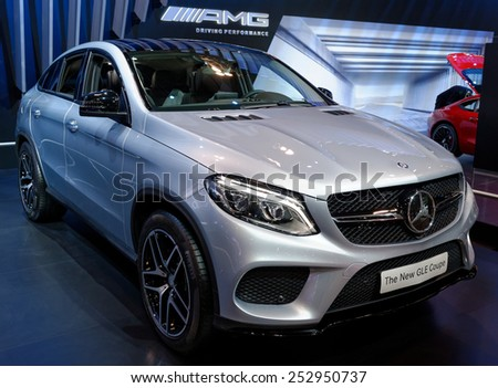TORONTO-FEBRUARY 12: at the 2015 Canadian International Auto Show, Mercedes GLE Coupe is athletic crossover with 4door coupe styling  on February 12, 2015 in Toronto  - stock photo
