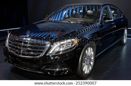 TORONTO-FEBRUARY 12: at the 2015 Canadian International Auto Show Mercedes Maybach S600 takes the highest-quality to new heights beyond superlatives  on February 12, 2015 in Toronto  - stock photo