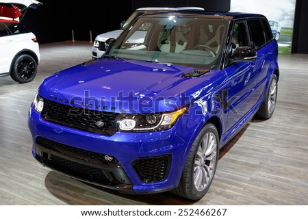 TORONTO-FEBRUARY 12: at the 2015 Canadian International Auto Show  Range Rover Sport SVR is capable of accelerating from 0-100 km/h in 4.7 seconds and electronically limited top speed of 260 km/h - stock photo