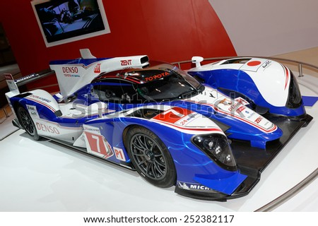 TORONTO-FEBRUARY 12: at the 2015 Canadian International Auto Show  Toyota TS030 Hybrid is a motor racing car that became the first hybrid car to be entered in the FIA World Endurance Championship  - stock photo