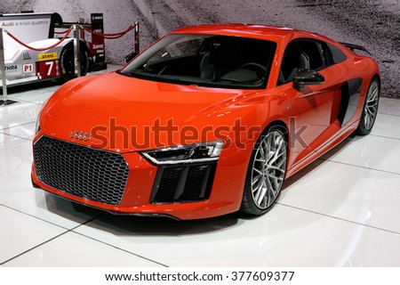 TORONTO-FEBRUARY 12: at the 2016 Canadian International AutoShow, Audi R8 V10 Plus has a power output of 610 hp, a top speed of 330 km/h and a 0 to 100 km/h acceleration time of 3.2 seconds - stock photo