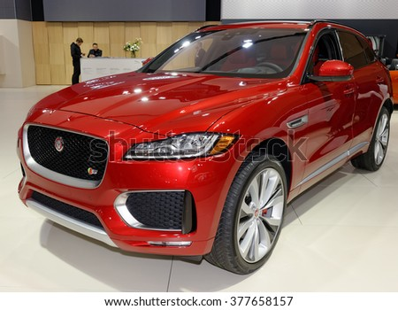 TORONTO-FEBRUARY 12: at the 2016 Canadian International AutoShow, 2017 Jaguar F-Pace S AWD will feature a 380hp supercharged 3.0-litre V6 engine with a 0-100 km/h time of 5.5 seconds - stock photo