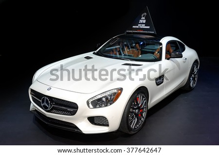 TORONTO-FEBRUARY 12: at the 2016 Canadian International AutoShow.2016 Mercedes-AMG GT S Coupe is AJAC 2016 Best New Prestige/Performance car. It has all-new 510-hp AMG-built 4.0L bi-turbo V8 - stock photo