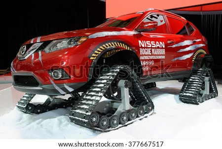 TORONTO-FEBRUARY 12: at the 2016 Canadian International AutoShow,Nissan Rogue Warrior is a crossover SUV can tackle snow at up to 100 km/h and even climb groomed-snow grades of 45 degrees - stock photo