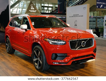 TORONTO-FEBRUARY 12: at the 2016 Canadian International AutoShow, The all new 2016 Volvo XC90 T6 AWD comes with 2.0 inline-4 turbocharged engine capable of 320hp - stock photo