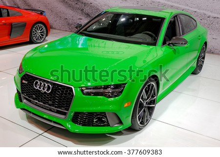 TORONTO-FEBRUARY 12: at the 2016 Canadian International AutoShow, with 605hp the Audi RS7 Performance needs 3.6 seconds to run the 0-100km/h - stock photo