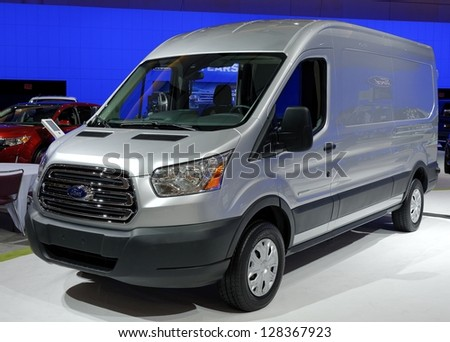 TORONTO-FEBRUARY 14:  Ford Transit 250 at the 2013 Canadian International Auto Show on February 14, 2013 in Toronto - stock photo