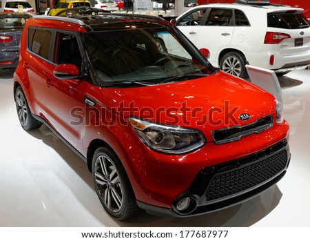 TORONTO-FEBRUARY 14: KIA Soul voted Best New Family car under $30,000 at the 2014 Canadian International Auto Show on February 14, 2014 in Toronto           - stock photo