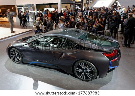 TORONTO-FEBRUARY 14: The all New BMW i8 presented to media at the 2014 Canadian International Auto Show on February 14, 2014 in Toronto           - stock photo