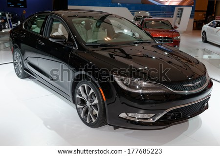 TORONTO-FEBRUARY 14: The all New 2015 Chrysler 200 at the 2014 Canadian International Auto Show on February 14, 2014 in Toronto           - stock photo