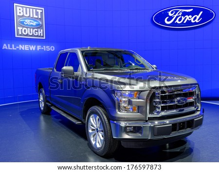 TORONTO-FEBRUARY 14: The all New 2015 Ford F-150 is the best F-150 ever at the 2014 Canadian International Auto Show on February 14, 2014 in Toronto           - stock photo