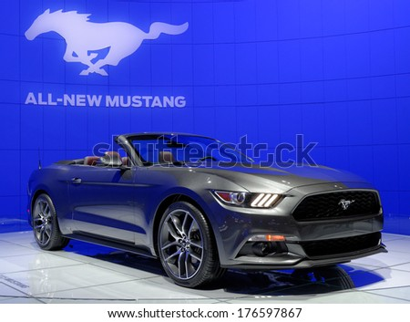 TORONTO-FEBRUARY 14: The all New 2015 Ford Mustang at the 2014 Canadian International Auto Show on February 14, 2014 in Toronto           - stock photo