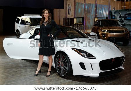 TORONTO-FEBRUARY 14: The all New 2015 Jaguar F-TYPE Coupe V8 R with 550HP 5-litre supercharged V8 engine at the 2014 Canadian International Auto Show on February 14, 2014 in Toronto           - stock photo