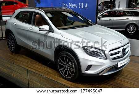TORONTO-FEBRUARY 14: The all New Mercedes GLA at the 2014 Canadian International Auto Show on February 14, 2014 in Toronto           - stock photo