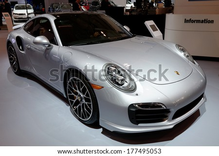 TORONTO-FEBRUARY 14: The all New Porsche 911 Turbo S at the 2014 Canadian International Auto Show on February 14, 2014 in Toronto           - stock photo