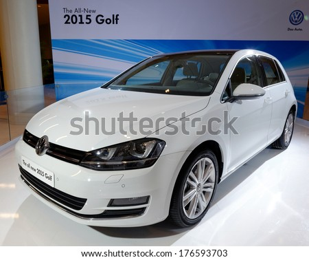 TORONTO-FEBRUARY 14:The all New 2015 Volkswagen Golf is the 7th generation Golf  at the 2014 Canadian International Auto Show on February 14, 2014 in Toronto           - stock photo