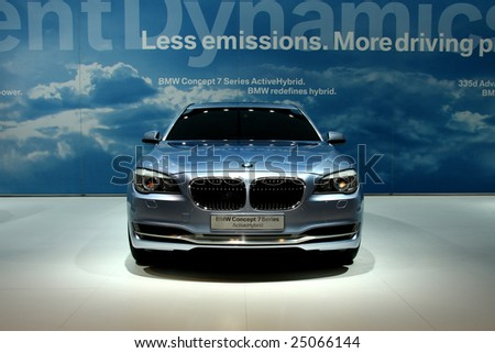 TORONTO, FEBRUARY 11: the BMW 7 Series Active Hybrid unveiled at the Canadian International AutoShow 2009, one of 6 concept cars unveiled at CIAS2009 - stock photo