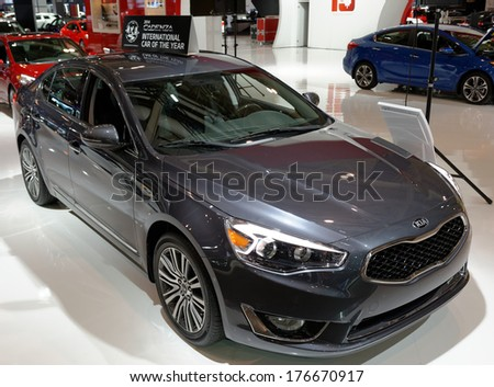 TORONTO-FEBRUARY 14: The International Car of the Year 2014 KIA Cadenza at the 2014 Canadian International Auto Show on February 14, 2014 in Toronto           - stock photo