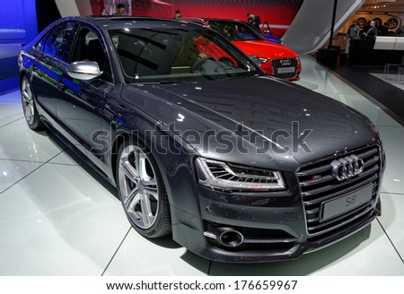 TORONTO-FEBRUARY 14: With 520HP the S8 is Audi�s big sports sedan at the 2014 Canadian International Auto Show on February 14, 2014 in Toronto           - stock photo