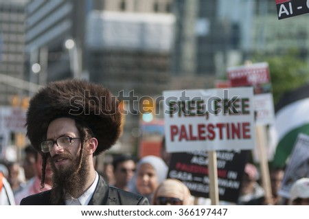 TORONTO-JULY 11: An Israeli Rabbi during the Al-Quds day rally on July 11, 2015 in Toronto,Canada. - stock photo