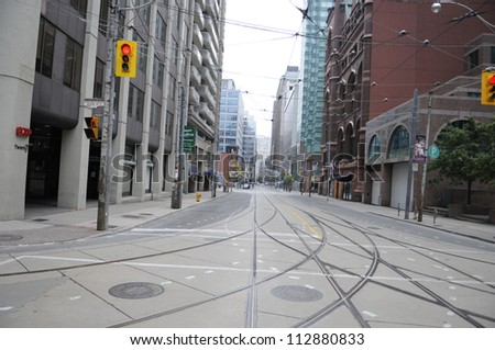 TORONTO-JUNE 27:   Empty downtown streets during the G20 Protest on June 27, 2010 in Toronto, Canada. - stock photo