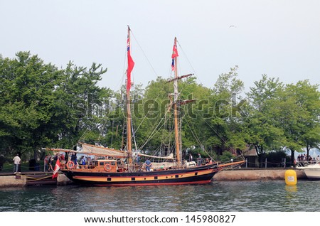"TORONTO - JUNE 22: ""Liana's Ransom"" sailing ship at RedPath Waterfront Festival  - tall ships - in June 22, 2013 Toronto, Canada - stock photo"