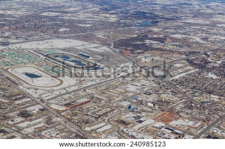 Toronto northwest section - aerial view - stock photo