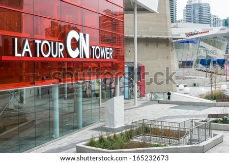 TORONTO - NOVEMBER 14 : CN Tower Entrance. One of the highest structures in the world and a tourist landmark as shown on November 14, 2013 in Toronto, Canada. - stock photo