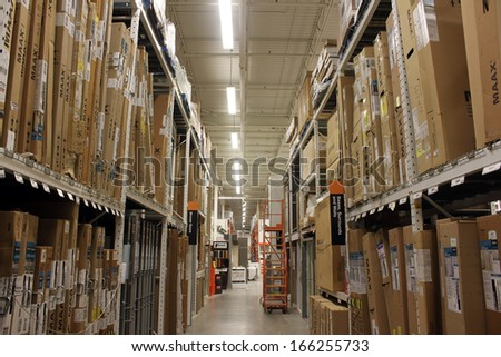 TORONTO - NOVEMBER 29: View of a Home Depot store on November 29, 2013 in Etobicoke, Ontario, Canada. The Home Depot is an American retailer of home improvement and construction products and services. - stock photo
