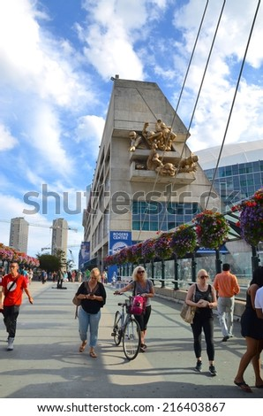 TORONTO,ON - AUGUST 31: Downtown Toronto Modern Architecture on August 31, 2014 in Downtown Toronto, Canada. Downtown Toronto has prominent buildings in a variety of styles by many famous architects. - stock photo