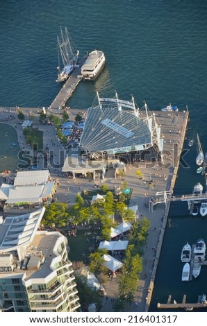 TORONTO,ON - AUGUST 31: Downtown Toronto Waterfront on August 31, 2014 in Downtown Toronto, Canada. Downtown Toronto has prominent buildings in a variety of styles by many famous architects. - stock photo