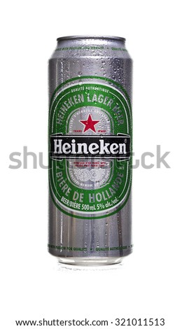 TORONTO, ONT. CANADA - SEPTEMBER 26, 2015: Cold Heineken beer tall can with wet water drops isolated on white background. - stock photo