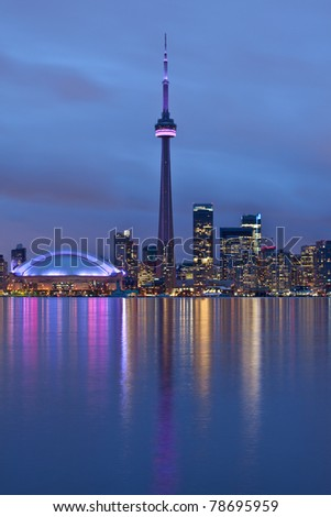 Toronto, Ontario, Canada - at night - stock photo